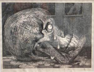 日和佐 廣さんの木版画「涙」
